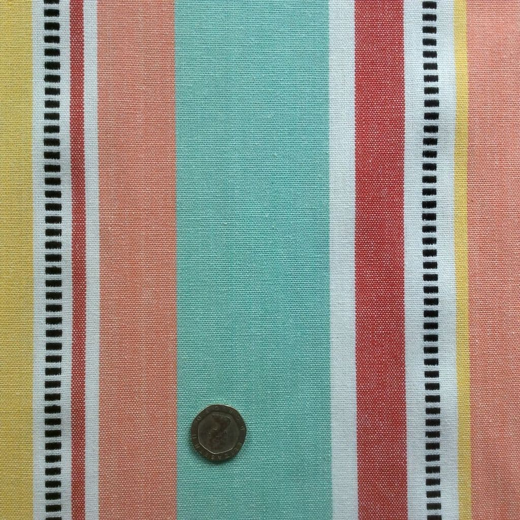 Deckchair Stripe Extra Wide Acrylic Oilcloth in Red & Yellow